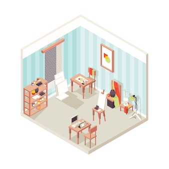 Interiore dello studio dell'artista. scuola espositiva del luogo di pittura per il disegno isometrico di vettore di studio ispiratore di designer. interiore dello studio dell'artista, stanza con l'illustrazione della pittura dell'attrezzatura di arte