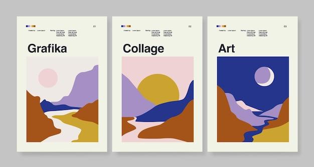 Modello di poster astratto botanico con set di pareti paesaggistiche artistiche