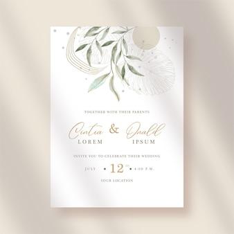 Acquerello di foglie artistiche su invito a nozze