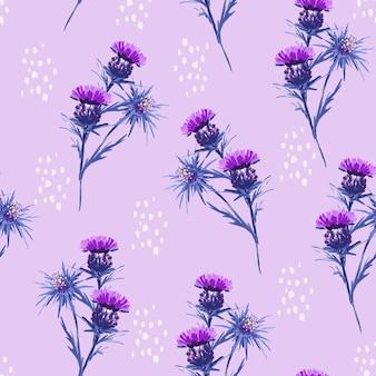 Modello senza cuciture floreale selvaggio dipinto a mano del fiore di prato artistico