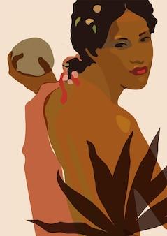 Arte murale artistica minimale femminile illustrazione del ritratto di una bella signora colori neutri dei toni della terra