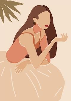 Arte murale artistica minimale femminile illustrazione del ritratto di donna colori neutri in terracotta dai toni della terra