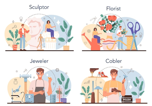 Insieme di occupazione artistica. processo di creazione. fiorista e scultore, gioielliere e calzolaio. raccolta di hobby e professioni moderne. illustrazione vettoriale isolato
