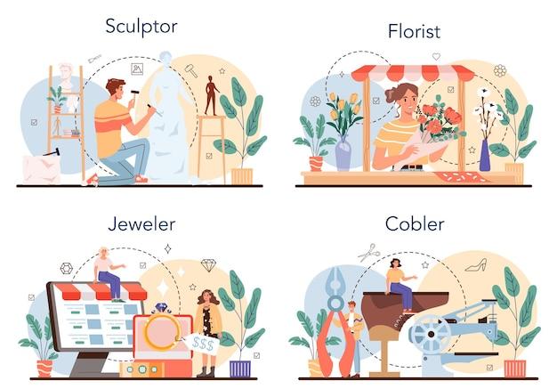 Set di occupazione artistica processo di lavorazione fiorista e gioielliere scultore