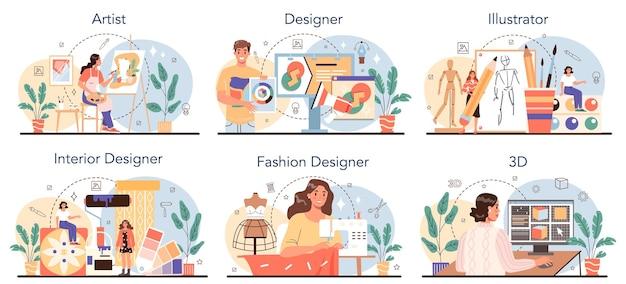 Insieme di occupazione artistica. fashion, interior e 3d designer, artista e illustratore. raccolta di hobby creativi e professioni moderne. illustrazione vettoriale isolato