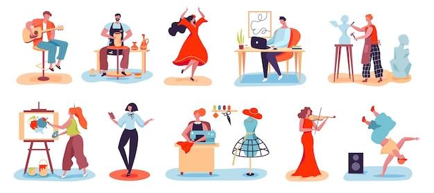 Persone artistiche con professioni creative musicista artista designer vasaio scultore hobby set