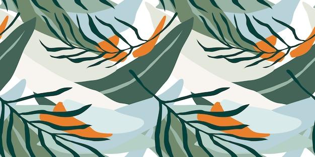 Modello senza cuciture artistico con foglie astratte.