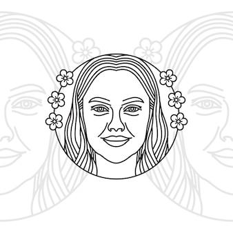 Fronte artistico della donna con capelli lunghi per l'ispirazione di progettazione di logo dei cosmetici della stazione termale del salone di bellezza