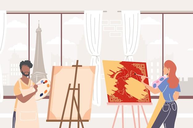 Coppia di artisti che dipingono