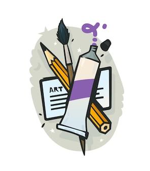 Gli artisti mettono un tubo di vernice, un pennello e un'illustrazione a matita per un negozio d'arte