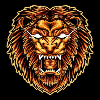Illustrazione di disegno della mascotte incredibile di espressione arrabbiata del leone della testa dell'opera d'arte