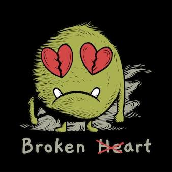 Progettazione dell'illustrazione dell'illustrazione del mostro di scarabocchio del cuore rotto