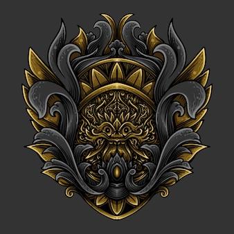 Illustrazione dell'opera d'arte ornamento dorato dell'incisione di barong