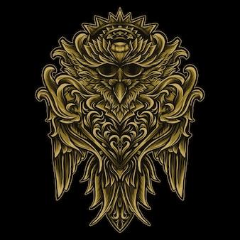 Illustrazione di opere d'arte e uccello dorato in ornamento incisione