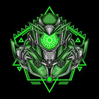 Illustrazione di opere d'arte e robot ciclope verde con geometria sacra