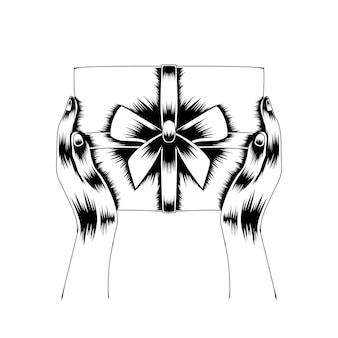 Illustrazione dell'opera d'arte la mano che dà la siluetta in bianco e nero di vettore della scatola regalo