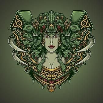 Illustrazione dell'opera d'arte medusa nell'ornamento dell'incisione
