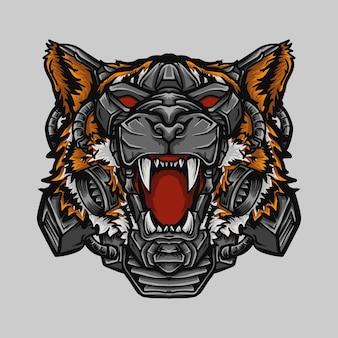 Testa di tigre robot illustrazione opera d'arte