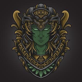 Illustrazione di opere d'arte e design di t-shirt donne aliene incisione ornamento
