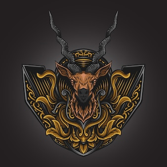 Illustrazione di opere d'arte e design di t-shirt ornamento di incisione di antilope
