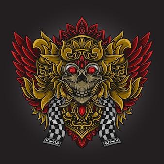 Illustrazione grafica e disegno della maglietta ornamento barong incisione del cranio