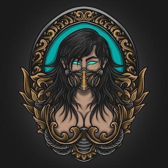 Illustrazione di opere d'arte e design di t-shirt bellezza donne maschera antigas in ornamento di incisione