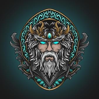Illustrazione di opere d'arte e design della maglietta bellezza testa di zeus nell'ornamento dell'incisione