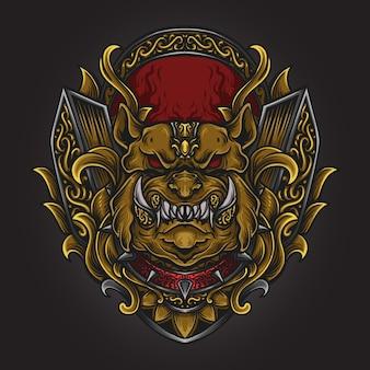 Illustrazione di opere d'arte e design della maglietta ornamento di incisione di cane toro