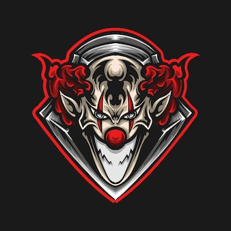 Illustrazione grafica e t-shirt design logo mascotte pagliaccio