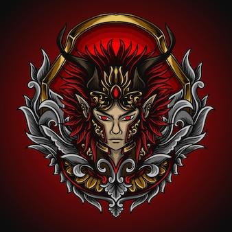 Illustrazione grafica e design t-shirt ornamento del principe del diavolo incisione