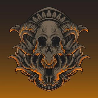 Illustrazione grafica e design della maglietta teschio del diavolo con ornamento inciso with