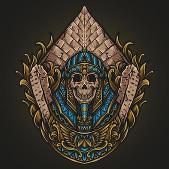 Illustrazione di opere d'arte e design di t-shirt ornamento di incisione del teschio del re egiziano