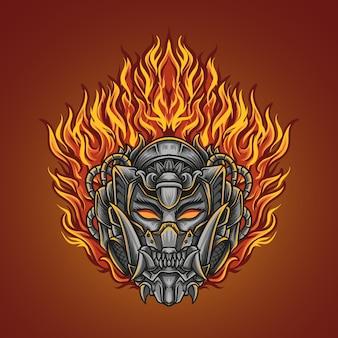 Illustrazione di opere d'arte e design di t-shirt fuoco oni