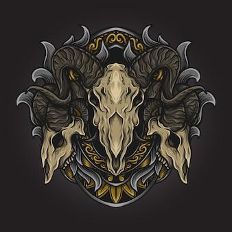 Illustrazione di opere d'arte e design della maglietta ornamento di incisione del teschio di capra