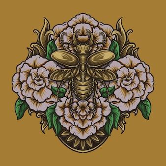 Illustrazione di opere d'arte e design di t-shirt scarabeo dorato e ornamento di incisione di rose
