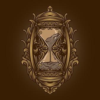 Illustrazione di opere d'arte e design di t-shirt ornamento per incisione a clessidra