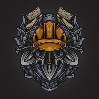 Illustrazione di opere d'arte e t-shirt design set lavoro ornamento incisione