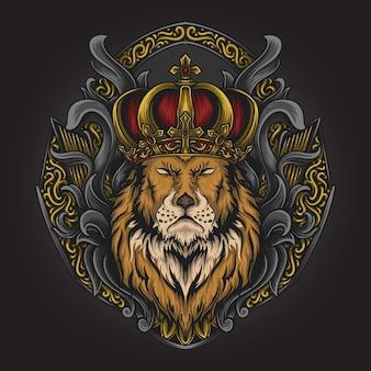 Illustrazione di opere d'arte e design di t-shirt re leone ornamento per incisione
