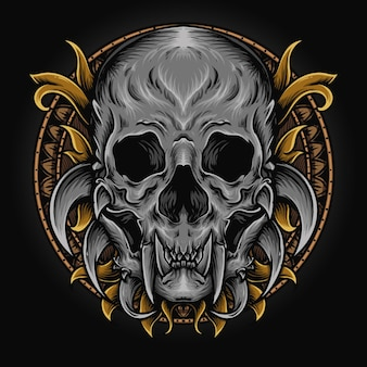Illustrazione grafica e design t-shirt ornamento del cranio del mostro incisione
