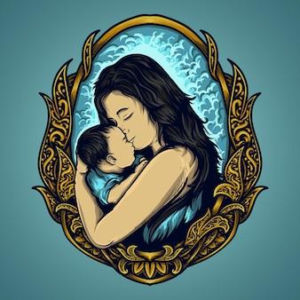 Illustrazione del materiale illustrativo e disegno della maglietta madre e bambino per l'ornamento dell'incisione di giorno di madri