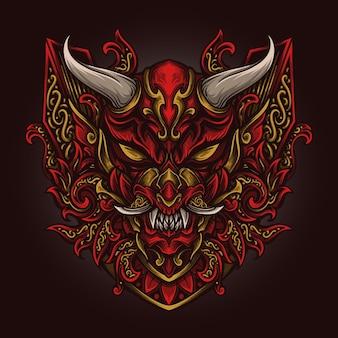 Illustrazione di opere d'arte e design di t-shirt ornamento di incisione di maschera oni