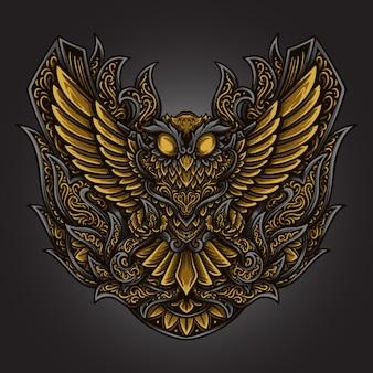 Illustrazione di opere d'arte e t-shirt design gufo incisione ornamento