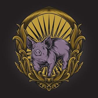 Illustrazione grafica e disegno della maglietta maiale con ornamento inciso