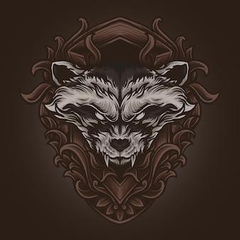 Illustrazione di opere d'arte e t-shirt design ornamento di incisione di procione