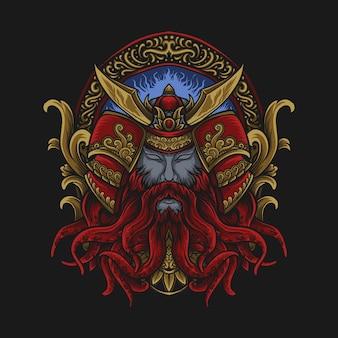 Illustrazione di opere d'arte e design della maglietta ornamento di incisione samurai polpo rosso e oro