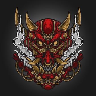 Illustrazione di opere d'arte e design di t-shirt ornamento di incisione di oni rosso e oro