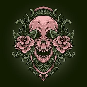 Illustrazione di opere d'arte e design di t-shirt teschio rosso e oro e ornamento di incisione di rose