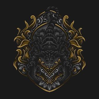 Illustrazione di opere d'arte e design di t-shirt scorpione incisione ornamento