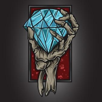 Illustrazione di opere d'arte e t-shirt design scheletro mano con diamante