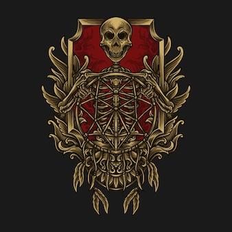 Illustrazione di opere d'arte e t-shirt design scheletro con ornamento incisione acchiappasogni